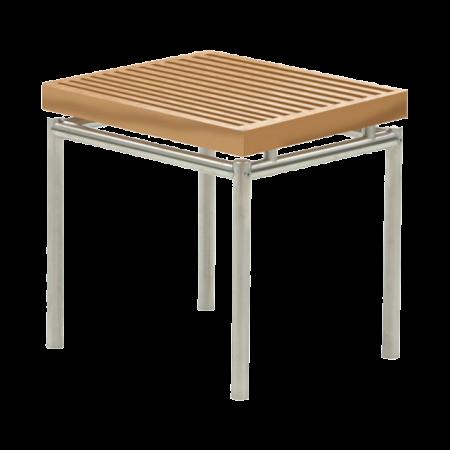tabouret bas table basse avant en teck et inox bross. Black Bedroom Furniture Sets. Home Design Ideas
