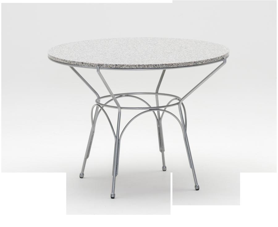 Table ronde uranus diam 100 cm plateau granit gris - Table ronde 100 cm ...