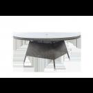 Table ronde Monte Carlo gris vintagegris vintage diam 1.8m avec sur-plateau verre