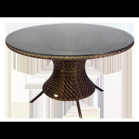 Table Océan Wave ronde 1.3 m avec plateau verre