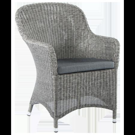 Fauteuil Monte Carlo dossier rond fibre coloris gris vintage avec coussin