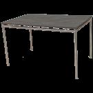 Table Avant 1 x 1,20 m inox brossé plateau Teck ou GRC
