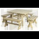 Ensemble Table carrée + 4 bancs en pin