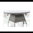 Table ronde Monte Carlo gris vintage diam 1.5m avec sur-plateau verre