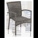 Fauteuil empillable Monte Carlo dossier droit fibre coloris gris vintage avec coussin