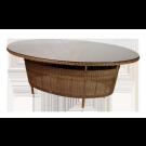 Table ovale San Marino 2 x 1.55 m avec sur plateau verre