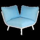Module d'angle blanc pour salon Beach avec coussins bleu