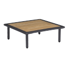 Table basse carrée gris anthracite Beach 70 x 70 x 22.5 cm avec plateau roble