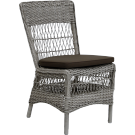 Chaise repas marie fibre coloris naturel coussin blanc inclus